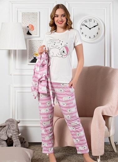 Strawberry Pamuklu  5'Li Set Sabahlık Pijama Takım Ekru